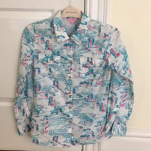 """Lilly Pulitzer button down """"watch out"""" print"""